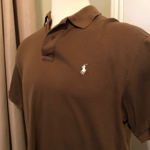 Ralph Lauren Polo Shirt - Brown Short Sleeve Large